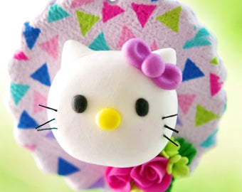Handcrafted Clay Christmas Ornament - Hello Kitty and Roses