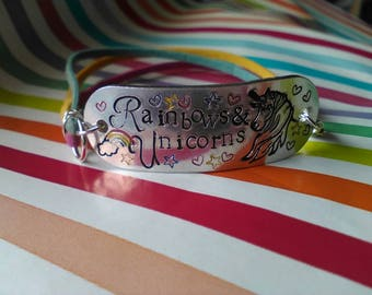 Hand Stamped Rainbows & Unicorns Aluminium Faux Suede Bracelet - Gift for Her - Jewellery - Upcycled - Vegan