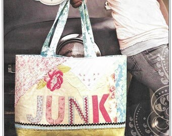 Jackie Clark Justified | The Junk Bag Pattern | Stock # 212JC | Full Alphabet Sheet | DIY Project Bag - Quilt - Knit - Junk - Shop - Travel