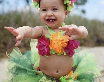 Baby Luau Outfits, Luau Party, Luau Dress, First Birthday Girl Outfit, Luau Tutu, Flower Crown Headband