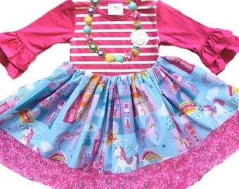 Unicorn birthday dress princess castle dress birthday party toddler girl