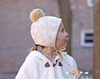 Cream Ivory Bonnet, Lace Bonnet, Pom Pom Bonnet, Easter Bonnet, Baby Bonnet, Toddler Bonnet, Christening Bonnet, Baptism Bonnet, Baby Gift