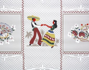 1950s Vintage Wallpaper by the Yard - Retro and Kitsch Spanish Dancers