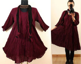 Wein Red FLOATY CRINKLE DRESS with matching Scarf us Plus Size 22 24 26 3X 4X Gypsy Gothic Hippie Lagenlook Linen Spring Summer