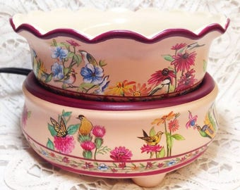 Combination Tart Burner and Candle Warmer -Birds and Flowers