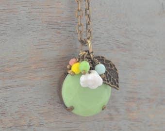 Jadeite Green Necklace, Floral Charm, Vintage Charm Necklace, Antique Charms, Assemblage Pendant Necklace, Gift for Her, Lapin du Printemps
