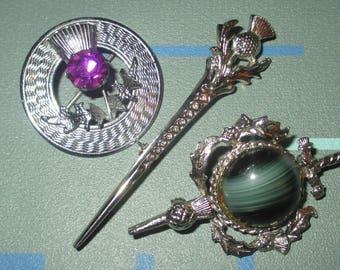 Vintage Scotland Thistle Mizpah Pin Lot of Three