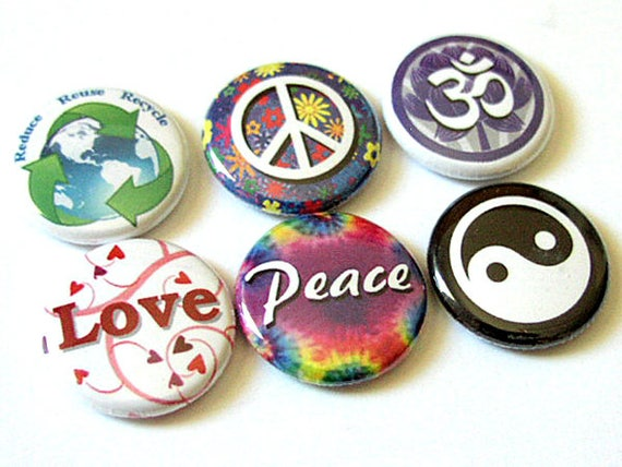 Peace Love Om Yin Yang 1 inch Pinbacks Button Pins Badges hippie retro stocking stuffer party favor flair hippy trippy buttons magnets gifts