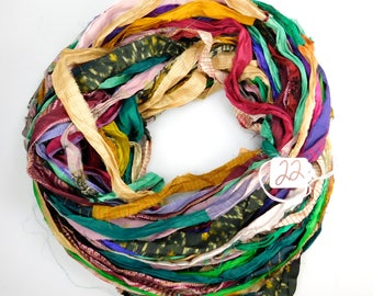 Silk Sari ribbon, Sari Silk Ribbon, printed sari ribbon, weaving supply, rug making supply, crochet supply, embellishing ribbon, multi color