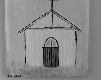 Grateful Chapel Church Painting - 12 x 12