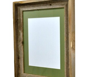 8x10 sage green mat in 11x14 wood picture frame Made in the USA