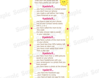 24 Baby Shower Game Cards  Whats In Your Cell Phone Game  - PINK You Are My Sunshine Baby Shower - Sunshine Baby Shower  - Phone Game