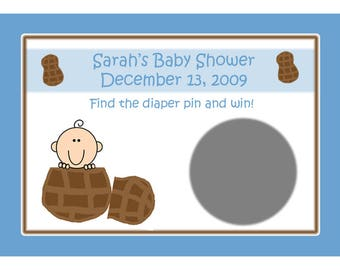 24 Personalized Baby Shower Scratch Off Game Cards   LITTLE PEANUT - Blue Little Peanut