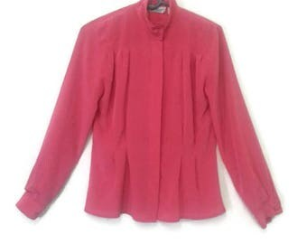 Vintage 80s Corporate Woman Fuchsia Pink Pleated Blouse Professional Wear Small Xtra Small