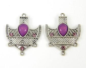 Purple Antique Silver Tribal Shield Boho Chandelier Earring Findings  PU1-13 2