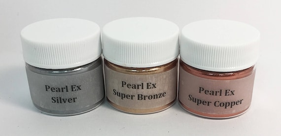 Pearl Ex Mica Pigment Powder 6 gm - Base Metal Colors SILVER COPPER  BRONZE Art Craft Paint Collage Jewelry Resin Clay Metallic Faux Finish
