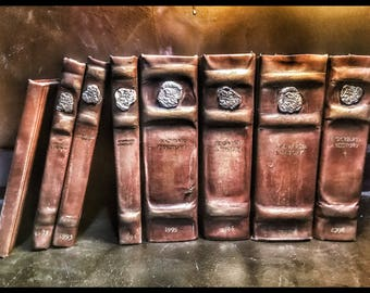 Redone destressed and aged faux leather Harry Potter Book Set  SALE