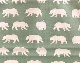 Bear Hike Mineral Organic Cotton Fabric Bear Camp, Seafoam Green Bear Fabric