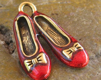 Dorthy Wizard of oz Slippers Shoes Ballerina Slipper Charms Finding Antique Gold and Red 995 - 24 Pieces