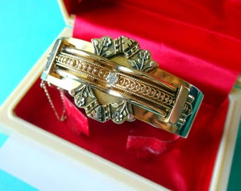 Antique Victorian 14K Tri-color Gold and Diamond Bangle