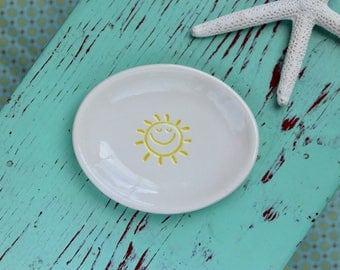 Small Oval Dish with Smiling Sun, Ring Dish with Yellow Sun, Trinket Dish with Sun Design