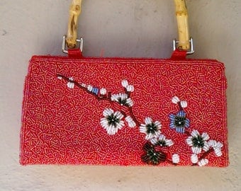 90s red BEADED hand bag / Asian floral purse / bamboo handle