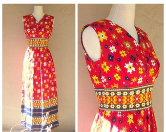 30% MOVING SALE 70s floral maxi dress / red yellow navy / ethnic print maxi dress / OOAK boho cotton summer dress / small xs