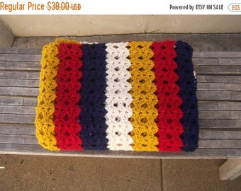 30% MOVING SALE Vintage 70s afghan / crochet striped red white blue MUSTARD / boho picnic throw / 66x48