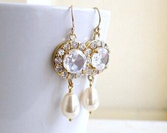 Summer Sale Swarovski Ivory EarringsTeardrop Pearl CZ Gold  Dangle CNE3