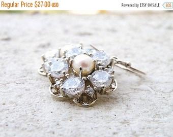 Summer Sale Bridal Earrings CZ Pearl Silver Earrings GE4 Wedding Jewelry