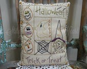 Decorative Halloween Pillow -  Halloween Trick or Treat - Hand Stitched Pillow - Ghost - Pumpkin - Witch - Candy Corn