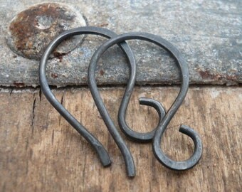 4 pairs of my Twinkle Heavily Oxidized Sterling Silver Earwires - Handmade. Handforged