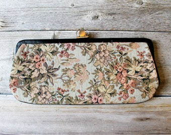 Elegant Vintage Tapestry Clutch Purse,  Bridal Clutch, Clutch Bag, Bridesmaids, 1950s, unique evening clutch, timeless