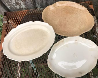 Lot of 3 Antique/Vintage White and Off White Well Loved Ironstone China Oval Platters