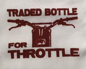 Last in stock!! Dark Red Hardcore Baby Motorcycle Dirt Bike Traded Bottle for Throttle Onesie Bodysuit Tshirts
