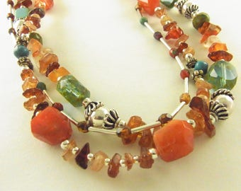 Strand Necklace Kaleidoscope of Color in Natural Stones