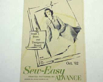 Vintage 1960s Sew Easy Printed Patterns Booklet by Advance October 1962 Miller & Rhoads Richmond, VA