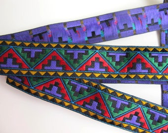3 yards MACHU PICCHU medium Jacquard trim in purple, red, deep green, mustard, black . 1 inch wide. 974-B