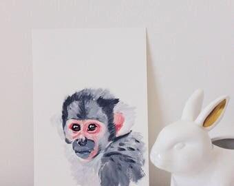 Squirrel Monkey Portrait Painting, Monkey Art, Monkey Painting, Cute Monkey, Nursery Monkey, Minimalstic Monkey Art, Mini Painting
