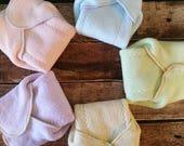 Sherpa Baumwolle geflügelten prefolds Tuch Windel Größe Uni-Farben 5 Pack