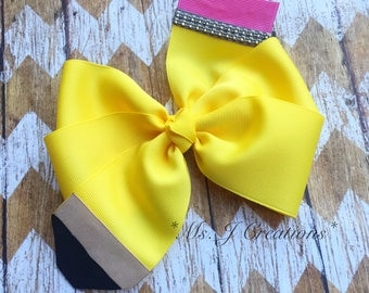 Pencil Hairbow - Yellow Back To School Girls Photo Prop - READY TO  SHIP