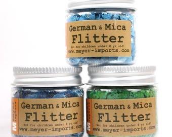 Mica Flakes Set -Light Blue, Bright Green, Deep Blue mica flakes art glitter craft glitter artist glitter -Set-3M - 311-M-0703