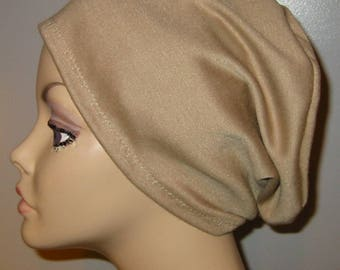 Camel  Knit Chemo Cap Wear it 2 Ways  Cancer Hat, Alopecia, Modest Hat,