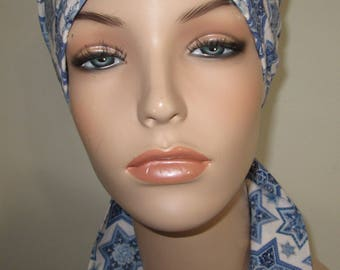 Chemo Scarf, Hat, Star of David Cancer Hat, Hijab, Alopecia MADE in USA