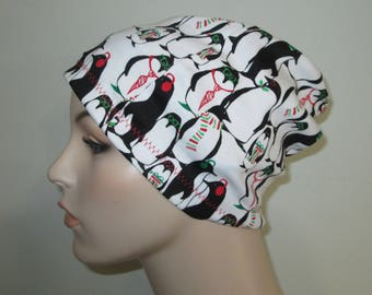 Chemo  Beanie  Hat Women's Winter Penguins  Hat Play Sleep Cap, Cancer Hat, Alopecia   Chemo Hat