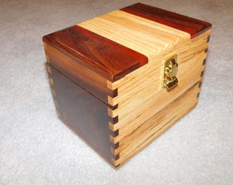 """Wood Recipe Box for 4"""" x 6"""" Index Cards - Walnut and Oak"""