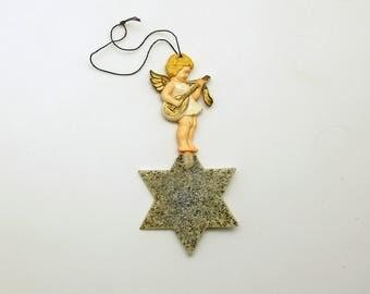 Vintage Angel on Star Ornament Germany Mandolin
