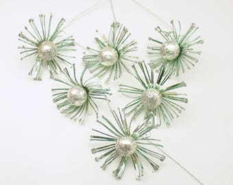 Vintage Christmas Decoration Glass Ball Tinsel Pom Poms Corsage Picks Daisy