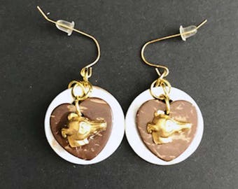 """Fun MOP """"Double Trouble"""" Shell Earrings with GP Greyhound or Whippet Dog Profile"""