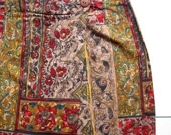 Vintage Allison Tracy Wrap Skirt - 1980's, Long skirt, Sarong skirt, Midi skirt,  Summer skirt, 100% Rayon, Made in USA, Size 9, Bohemian